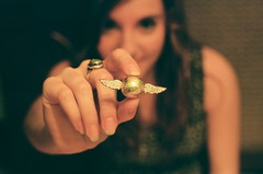 golden snitch. (amanda.venner) Tags: portrait film girl self 35mm golden harry potter quidditch snitch pentaxme
