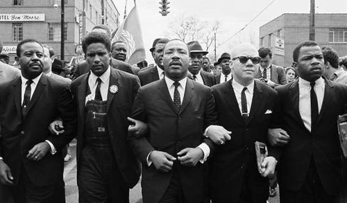 John Lewis; Jesse Douglas; Martin Luther King, Jr; James Forman; Ralph Abernathy, marching in Montgomery (by: Steve Schapiro, via history.com)
