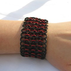 Red and Black Rubber Chainmaille Bracelet