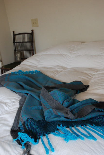 turquoise, grey and black blanket