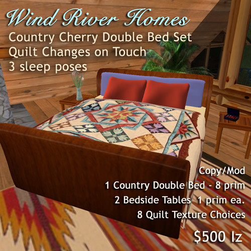 Cherry Wood Double Bed Set - Wind River Homes by Teal Freenote