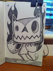 Cat skull ([rich]) Tags: moleskine pencil robot sketch rich doodle scribble umetoys