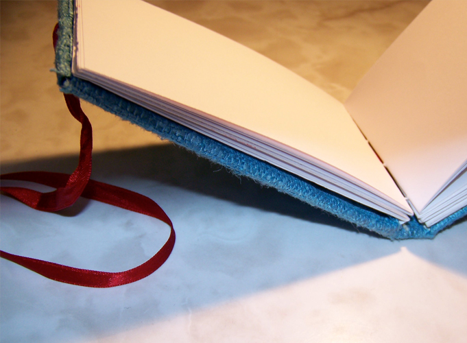 Notebook inside - unused paper from an old art diary, hand stich bound together