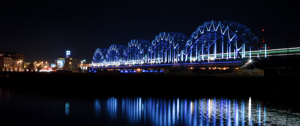 Riga - panorama - bridge at night - small