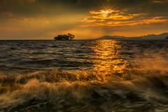 sunset 7706 (junjiaoyama) Tags: japan sunset sky light sun sunshine cloud wave weather landscape orange contrast colour bright lake island water nature summer