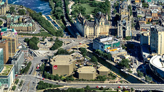 Ottawa, Ontario, Canada: Aerial view of the Rideau Canal, Union Station, National Arts Centre, Parliament Hill and Fairmont Château Laurier (nabobswims) Tags: ca canada fairmontchâteaulaurier hdr highdynamicrange lightroom nabob nabobswims nationalartscentre ontario ottawa parliamenthill photomatix rideaucanal sel18105g sonya6000 unionstation