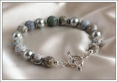 Ocean jasper & Swarovski pearl bracelet