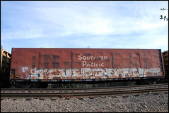 Jaber DTC (huntingtherare) Tags: wood car train graffiti flat pacific southern chip freight dtc jaber huntingtherare
