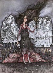 The Seance (liza bliss) Tags: girls illustration night ink watercolor skull candles veil drawing victorian spirits moths ghosts seance spiritualist