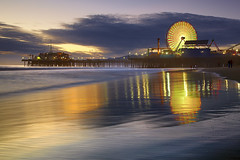 Santa Monica Spin #3 - Santa Monica Pier, California (PatrickSmithPhotography) Tags: ocean california longexposure travel blue light sunset sea vacation sky people usa holiday seascape color beach water rock architecture night clouds sunrise canon landscape geotagged fun bay la pier losangeles sand santamonica wave socal ferriswheel 5d nocturne mkii 5dmkii