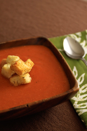 Tomato Soup with Garlic Parmesan Croutons