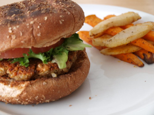 Curried Chickpea Patties w/ Spiced Oven-Roasted Potato Sticks