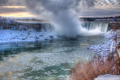 Misty Sunrise (James Marvin Phelps) Tags: winter snow newyork canada ice river landscape photography niagarafalls waterfalls hdr horseshoefalls americanfalls jmpphotography jamesmarvinphelps
