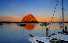 Morro Bay (David Shield Photography) Tags: california moon color reflection water sunrise boats coast morrowbay morrowrock coth abigfave flickraward nikond700 goldstaraward reflectsobsessions