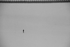 Nowhere Man (lenag_photographee) Tags: winter blackandwhite bw white snow man cold person one alone figure lonely sole simple dontusewithoutmypermission 2010lenaganssmannphotography