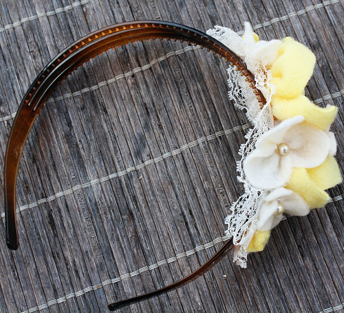 Yellow, Pearls, and Lace Headband