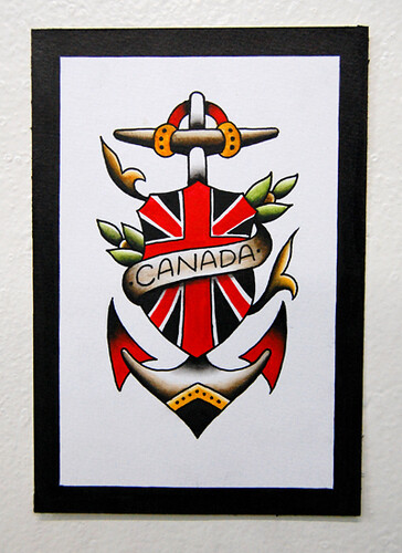 Canadiana Tattoo Flash. God Save the Queen here's one for the Loyalists!