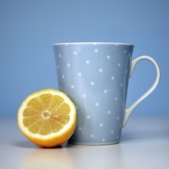 My Tea Time (Art Flow) Tags: blue stilllife yellow lemon tea polkadots mug teatime myfavouritemug cmwdblue lovepolkadots