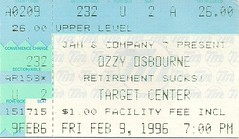 02/09/96 Ozzy Osbourne/Korn/Deftones @ Minneapolis, MN (Ticket)