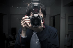 CAUGHT BY SURPRISE (Clark Tanaka) Tags: portrait reflection face japan 35mm canon dark eos japanese tokyo bigeyes mirror living scary eyes 5 room flash wide livingroom surprise huge l surprised 5d speedlight strobe llens canonef35mmf14lusm ef35mmf14l 580exii canoneos5dmarkii 5dmarkii 5d2 5dii