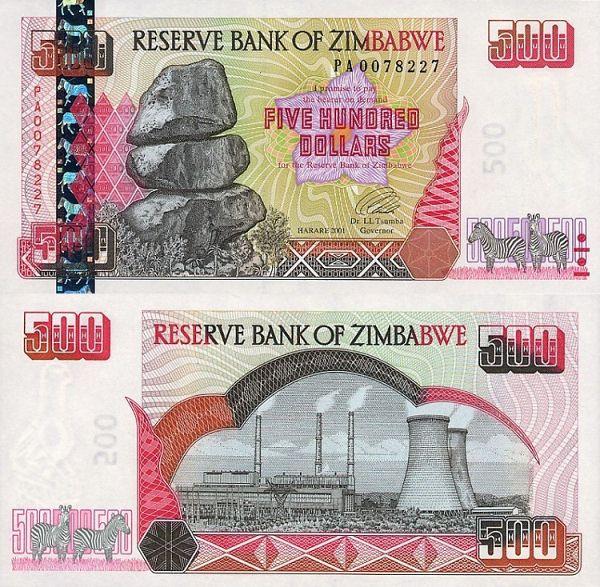 500 Dolárov Zimbabwe 2001