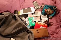 What's In My Bag? (skyremix) Tags: gum bag psp ipod guess wallet cellphone samsung purse whatsinyourbag nintendods eyeglasses whatsinmybag lacoste compact lotion keroppi shoulderbag smashbox