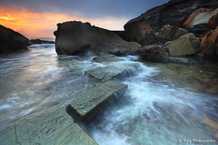 Forresters Beach - Central Coast, NSW, Australia (-yury-) Tags: ocean sea sun seascape beach water clouds sunrise landscape rocks waves australia centralcoast forresters supershot abigfave