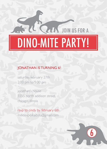 Dino-mite party invitation