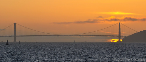 Golden Gate Bridge sunset panoramic