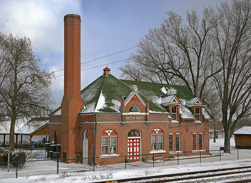 Old Water Works building, in Washington, Missouri, USA - exterior view in snow