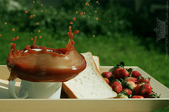 "Chocolate splash ..! (Queen333"" ) Tags: red green milk strawberry chocolate splash tost"