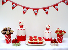 Hello Kitty buffet table (neviepiecakes) Tags: birthday red cupcakes strawberries caketoppers hellokiity cakepops