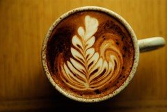 Chocolate Rosetta (On the mountain at dawn) Tags: mountain fern art cup coffee dawn milk leaf nikon chocolate steamed latte barista latteart textured rosetta d3000