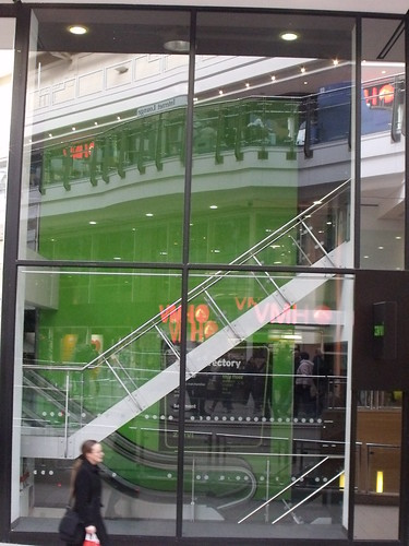 Zavvi - former store in the Pavilions - reflection, stairs and escalators