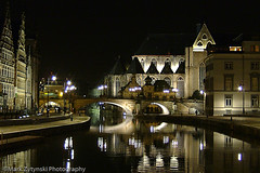 Ghent-1 (ZytPyx) Tags: bridge reflection church night europe european place belgium belgique belgie location website be ghent gent gand flemishregion grasleie