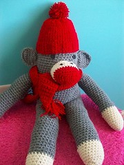 Meet Monkey Moo (Mooy) Tags: red hat scarf monkey diy sock crochet gray knit