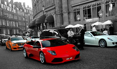 LP640 + M6 + GT + 599 (MadoEgypt) Tags: red orange white london ferrari harrods porsche bmw gt lamborghini m6 carrera lumma 599 lp640