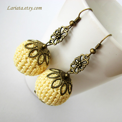 crochet bead earrings in yellow
