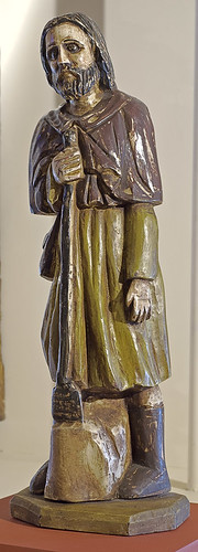 "Statue, polychrome and gesso on hardwood, ""St. Isidore the Farmer"" by unknown Santos carver, Philippines, ca. 1950, at the Pere Marquette Gallery of the Saint Louis University Museum of Art, in Saint Louis, Missouri, USA"