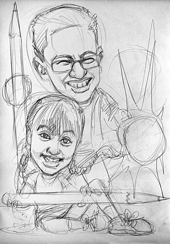 Caricatures of Nigel Chew & Jermaine Leong pencil sketch