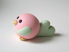 Birdie (fliepsiebieps1) Tags: cute green bird love birdie spring handmade polymerclay clay round kawaii figurine lovebird tweet twitter coralaqua