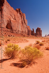 Monument Valley, Arizona (Michelle in NY) Tags: vacation arizona yellow landscape rocks bluesky redrocks navajo monumentvalley byob navajotriballand canoneos40d michelleinny wwwmichelleneacycom