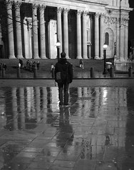 Alone in the rain, St Pauls Cathedral, London (Mo Baig) Tags: city blackandwhite bw london architecture night reflections nikon stpauls allrightsreserved nikond60 platinumphoto sigma18200mmoshsm nikonflickraward 200912 4tografie mobaig