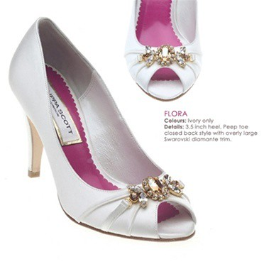 High heel wedding shoes by Filippa Luxe - Swarovski Silk Peep-Toe