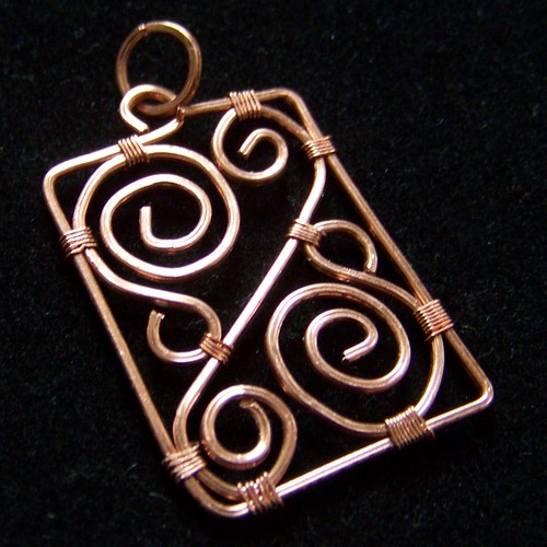 Copper square wire pendant