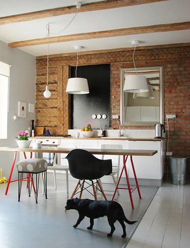 brick kitchen by A Merry Mishap blog.