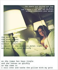 I got a dream with your face in it (Soph¡e's World) Tags: selfportrait shy sheets anidifranco hotelroom
