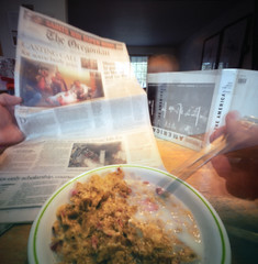 Domesticity: The journey of a thousand miles begins with the breakfast of champions (Zeb Andrews) Tags: life color film home breakfast oregon square portland cereal pinhole meal pdx everyday zero2000 mundane zeroimage pinscape bluemooncamera fujipro800z zebandrewsphotography