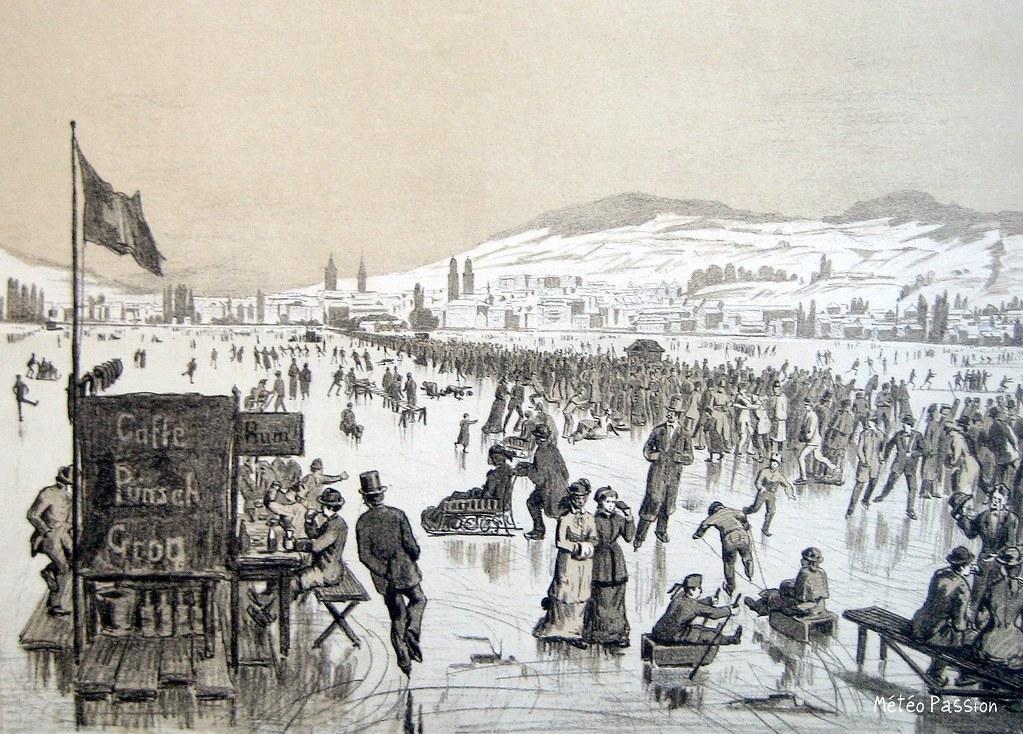animation sur le lac de Zurich gelé en janvier 1880
