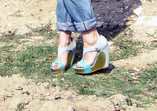 seafoam and gold wedges vintage3
